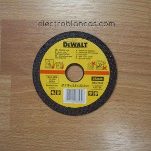 disco corte metal DE WALT DT3400 - 115x2,8x22,2 - r.p.m. max. 13.300 - 80 m-s - electroblancas